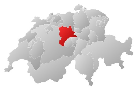 schweiz: Political map of Swizerland with the several cantons where Lucerne is highlighted.