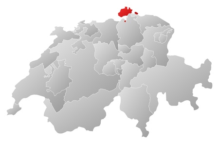 cantons: Political map of Swizerland with the several cantons where Schaffhausen is highlighted. Illustration