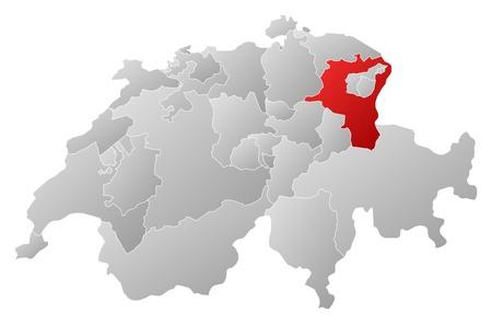 st  gallen: Mapa pol�tico de Swizerland con los varios cantones donde se resalta St. Gallen. Vectores