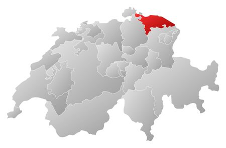 swizerland: Political map of Swizerland with the several cantons where Thurgau is highlighted.