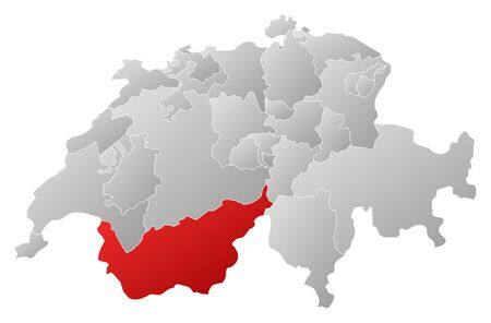schweiz: Political map of Swizerland with the several cantons where Valais is highlighted.