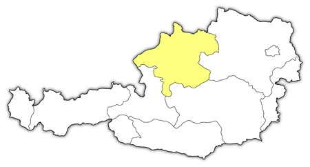 Political map of Austria with the several states where Upper Austria is highlighted. Vector