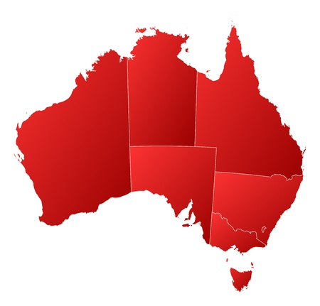 australia map: Political map of Australia with the several states. Illustration