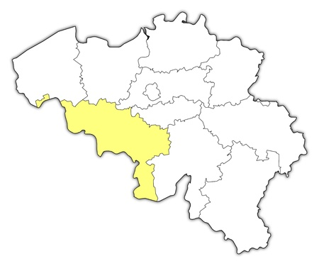 belgie: Political map of Belgium with the several states where Hainaut is highlighted. Illustration