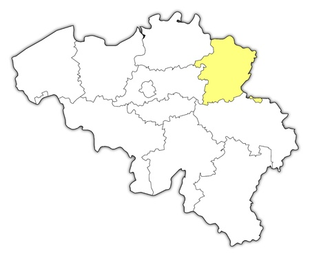 Political map of Belgium with the several states where Limburg is highlighted.