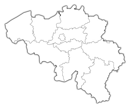 belgique: Political map of Belgium with the several states.