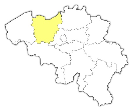 flemish region: Political map of Belgium with the several states where East Flanders is highlighted. Illustration