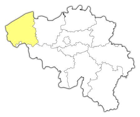 belgie: Political map of Belgium with the several states where West Flanders is highlighted. Illustration
