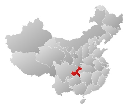 Political map of China with the several provinces where Chongqing is highlighted. Vector