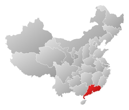 guangdong: Political map of China with the several provinces where Guangdong is highlighted. Illustration
