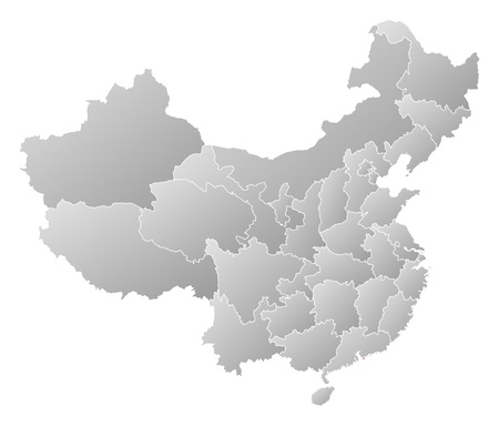 people's republic of china: Political map of China with the several provinces where Hong Kong is highlighted.