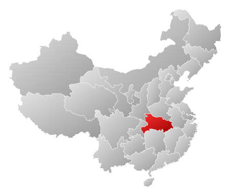 Political map of China with the several provinces where Hubei is highlighted. Vector