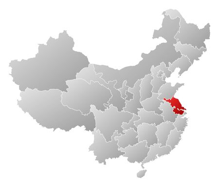 Political map of China with the several provinces where Jiangsu is highlighted. Vector
