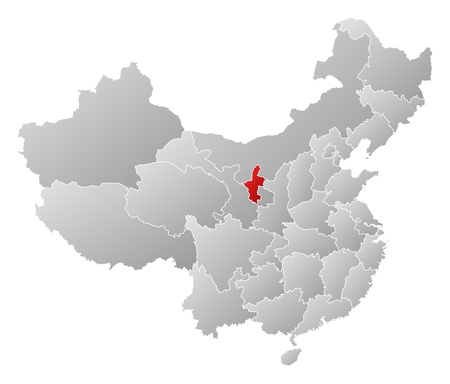 people's republic of china: Political map of China with the several provinces where Ningxia is highlighted.