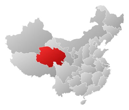 people's republic of china: Political map of China with the several provinces where Qinghai is highlighted.