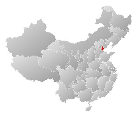 Political map of China with the several provinces where Tianjin is highlighted. Vector