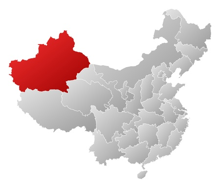 Political map of China with the several provinces where Xinjiang is highlighted. Vector