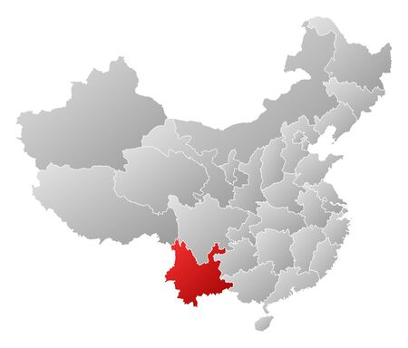 people's republic of china: Political map of China with the several provinces where Yunnan is highlighted.