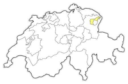 general maps: Political map of Swizerland with the several cantons where Appenzell Ausserrhoden is highlighted. Illustration