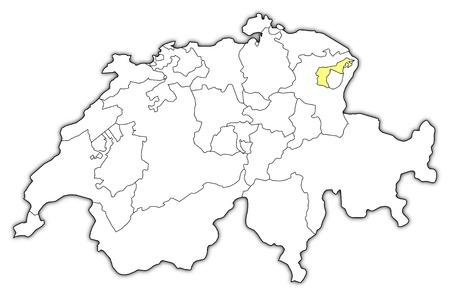 Politische Karte mit den Swizerland mehreren Kantonen Appenzell Ausserrhoden, wo hervorgehoben wird.