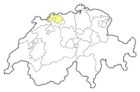 schweiz: Political map of Swizerland with the several cantons where Basel-Landschaft is highlighted.