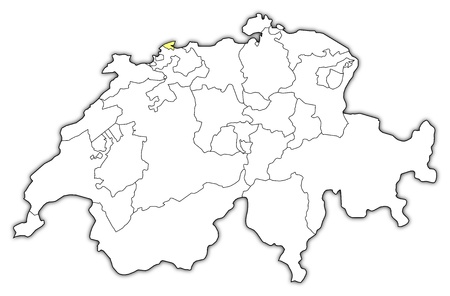 emphasize: Political map of Swizerland with the several cantons where Basel-Stadt is highlighted.