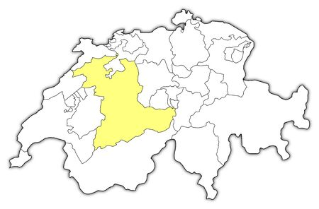 Political map of Swizerland with the several cantons where Bern is highlighted. Vector