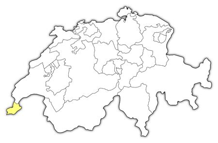 swizerland: Political map of Swizerland with the several cantons where Geneva is highlighted. Illustration
