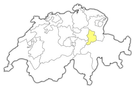 cantons: Political map of Swizerland with the several cantons where Glarus is highlighted.