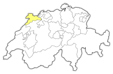 swizerland: Political map of Swizerland with the several cantons where Jura is highlighted.