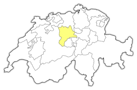 Political map of Swizerland with the several cantons where Lucerne is highlighted. Vector