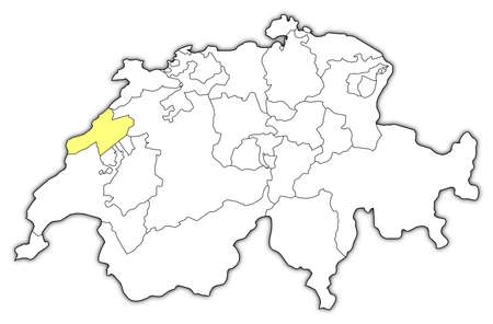 cantons: Political map of Swizerland with the several cantons where Neuchatel is highlighted.