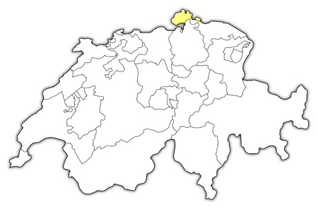 Political map of Swizerland with the several cantons where Schaffhausen is highlighted. Illustration