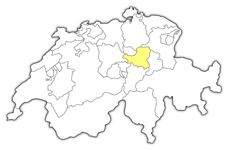 canton: Political map of Swizerland with the several cantons where Schwyz is highlighted. Illustration