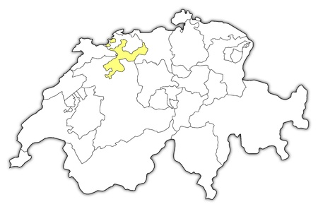 cantons: Political map of Swizerland with the several cantons where Soleure is highlighted. Illustration