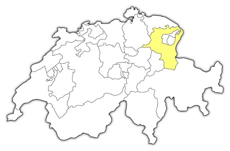 schweiz: Political map of Swizerland with the several cantons where St. Gallen is highlighted.