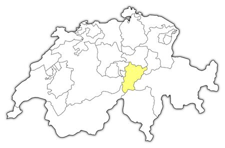 swizerland: Political map of Swizerland with the several cantons where Uri is highlighted. Illustration