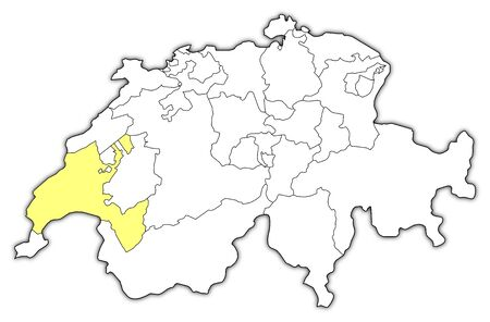canton: Political map of Swizerland with the several cantons where Vaud is highlighted. Illustration