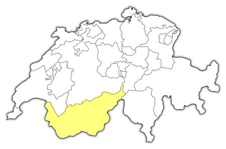 swizerland: Political map of Swizerland with the several cantons where Valais is highlighted.
