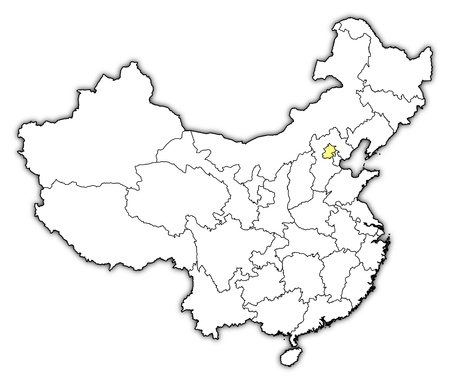 Political map of China with the several provinces where Beijing is highlighted. Vector