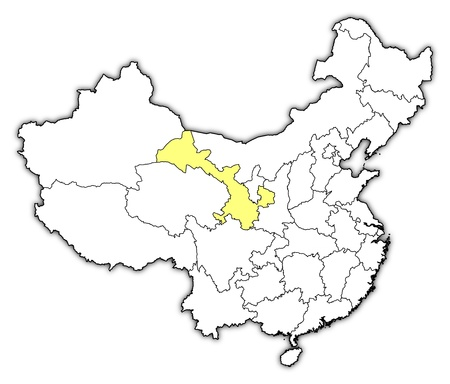Political map of China with the several provinces where Gansu is highlighted. Vector