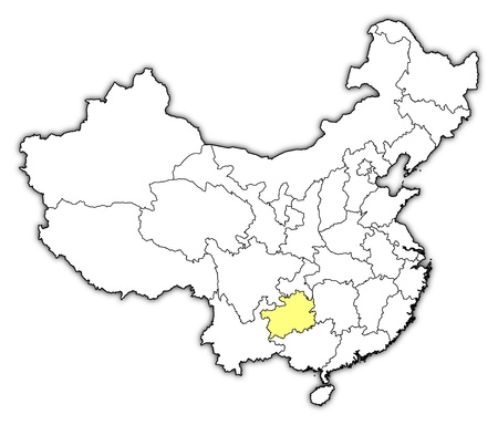 Political map of China with the several provinces where Guizhou is highlighted. Vector