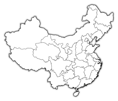 provinces: Political map of China with the several provinces where Hong Kong is highlighted.