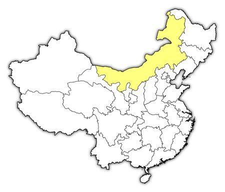 Political map of China with the several provinces where Inner Mongolia is highlighted. Vector
