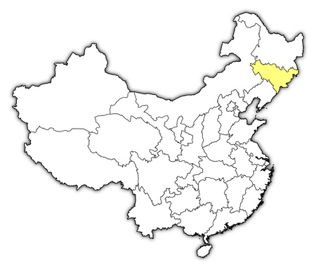 Political map of China with the several provinces where Jilin is highlighted. Vector