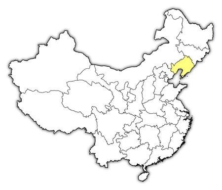 Political map of China with the several provinces where Liaoning is highlighted. Vector