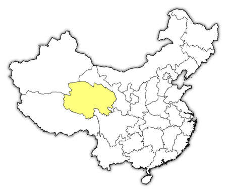 Political map of China with the several provinces where Qinghai is highlighted. Vector
