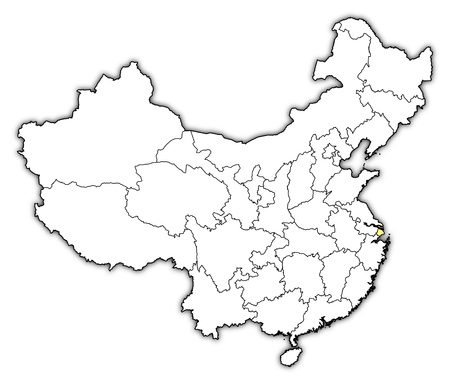 people's republic of china: Political map of China with the several provinces where Shanghai is highlighted.