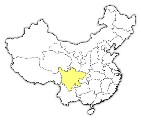Political map of China with the several provinces where Sichuan is highlighted. Ilustração