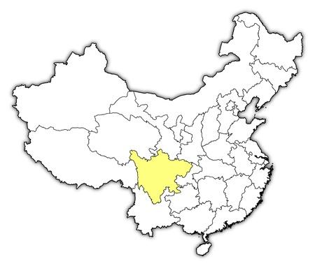 Politieke kaart van China met de verschillende provincies waar Sichuan is gemarkeerd.